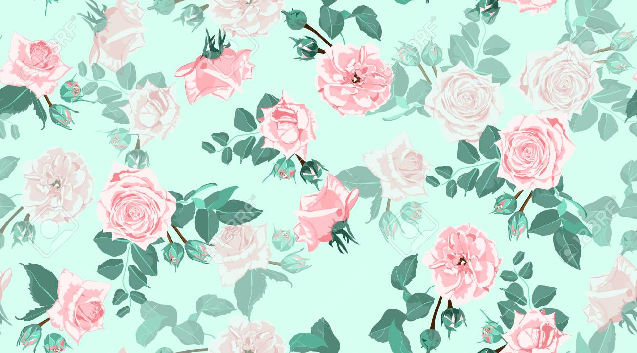 Vintage Floral Background Roses Bouquet In Watercolor Style