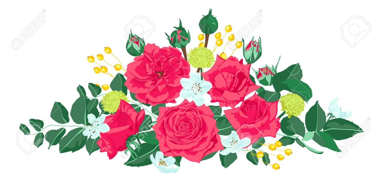 Vintage Roses For Wedding Card Invite Design Red Flowers Bouquet Royalty Free Cliparts Vectors And Stock Illustration Image 124930755