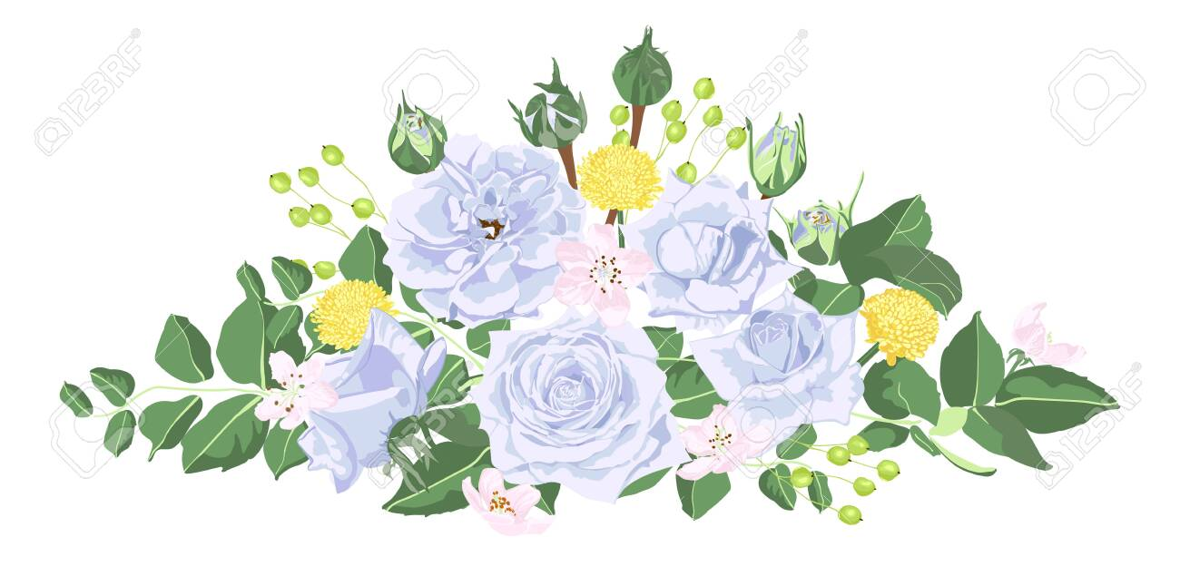 Vintage Bouquet of Roses, Floral Set in Watercolor Style. Greeting Card or Wedding Invite Design. Spring Flowers Vintage Illustration for Fashion Print, Elegant Wreath. Vector Vintage Card Template. - 123403320