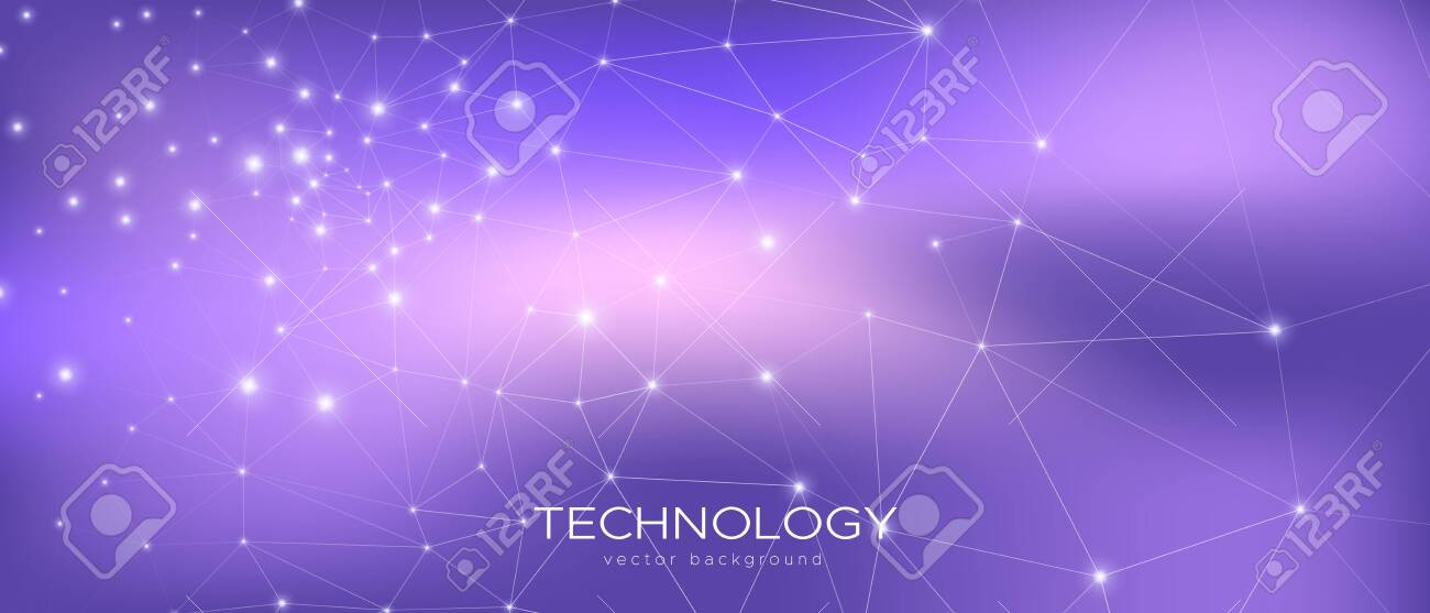 Abstract Data Flow. Violet Science Visualization. Purple 3d Minimal Background. Magic Triangular Texture. Data Tech Concept. Cosmic Science Wallpaper. Gradient Illustration. Technology Data. - 134144191