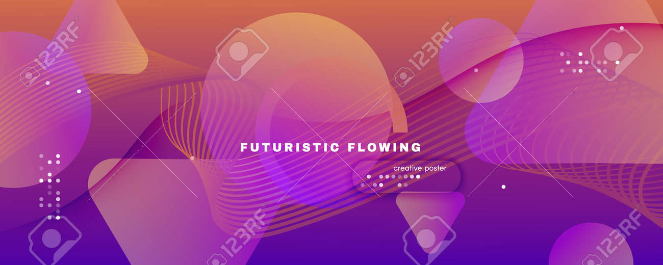 Abstract Fluid Background. 3d Geometric Concept. Flow Lines Brochure. Purple Abstract Fluid Background. Curve Vibrant Landing Page. Technology Website. Vivid Shapes. Abstract Fluid Background. - 159595817