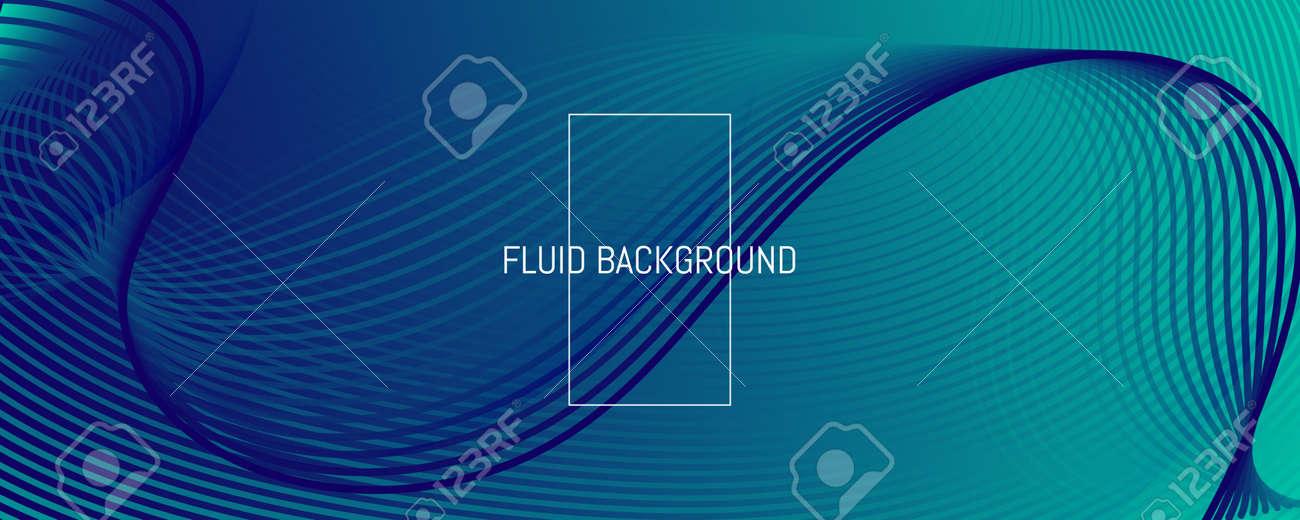 Blue Dynamic Wave. Fluid 3d Flyer. Vivid - 163020094