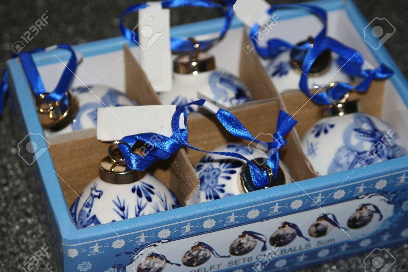 Superior Delft Blue Christmas Ornaments Part - 9: Hand Painted Porcelain Delft Blue Christmas Baubles Stock Photo - 13910405