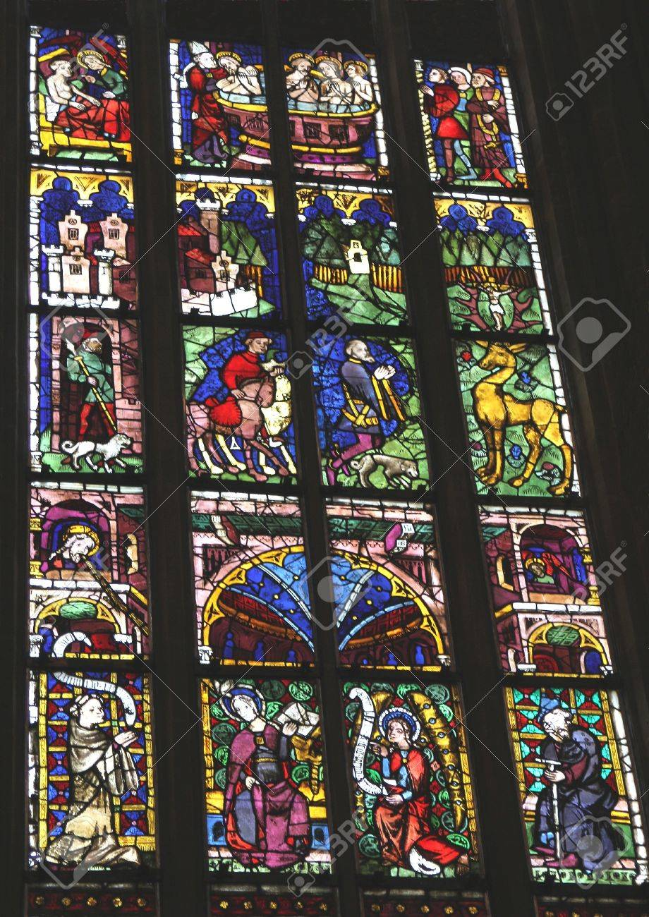 Medieval Stained Glass Window In The Unesco St Marys Cathedral Mariendom Erfurt Germany
