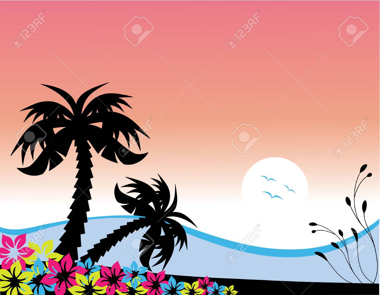 Vector illustration of palm trees at the beach at sunset Stock Vector - 4749232