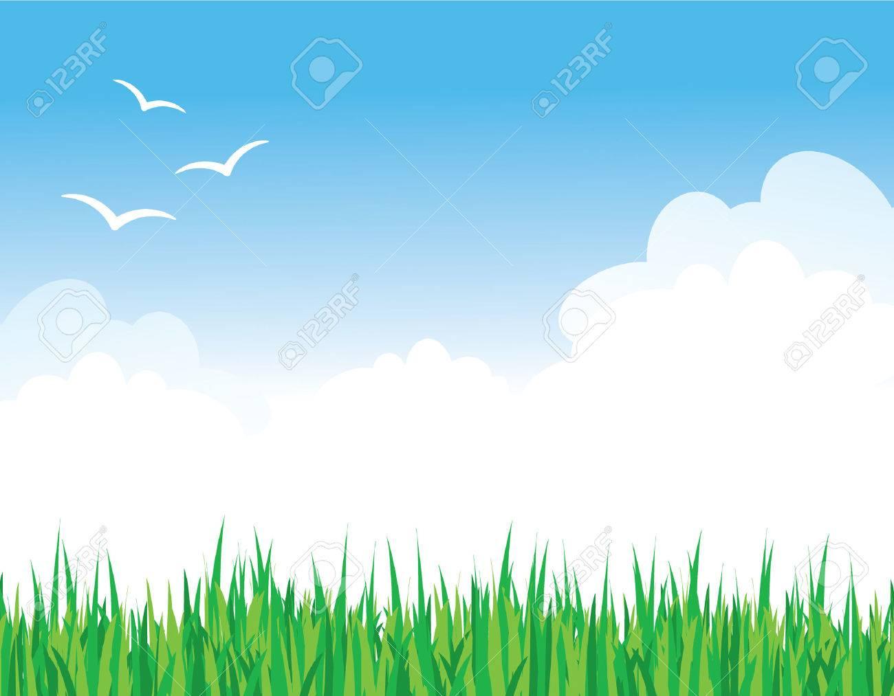 Green Grass Against a Blue Sky Stock Vector - 4808209