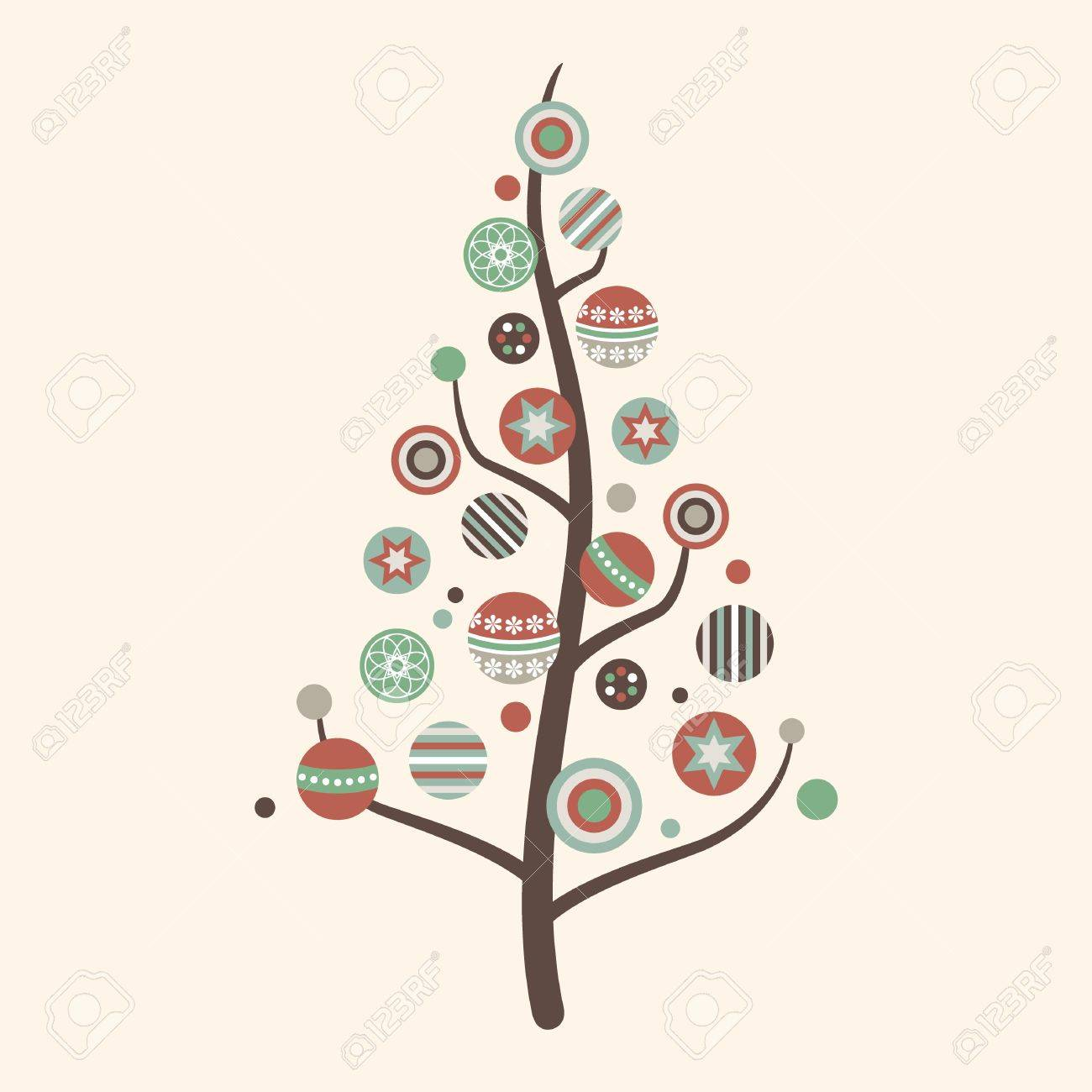 Colorful Christmas Tree Vector.Abstract Christmas Tree Vector In Vintage Colors