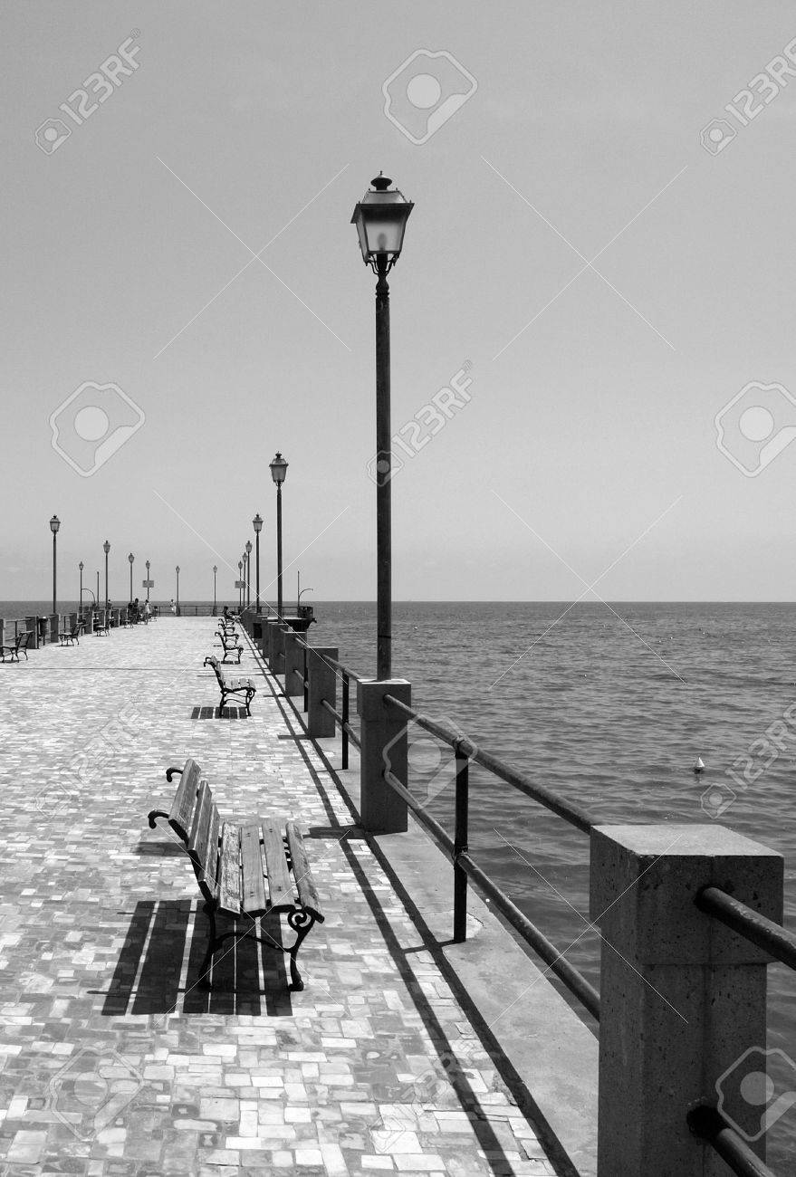 Pier of alassio mediterranean sea italy black white art stock photo 10320525