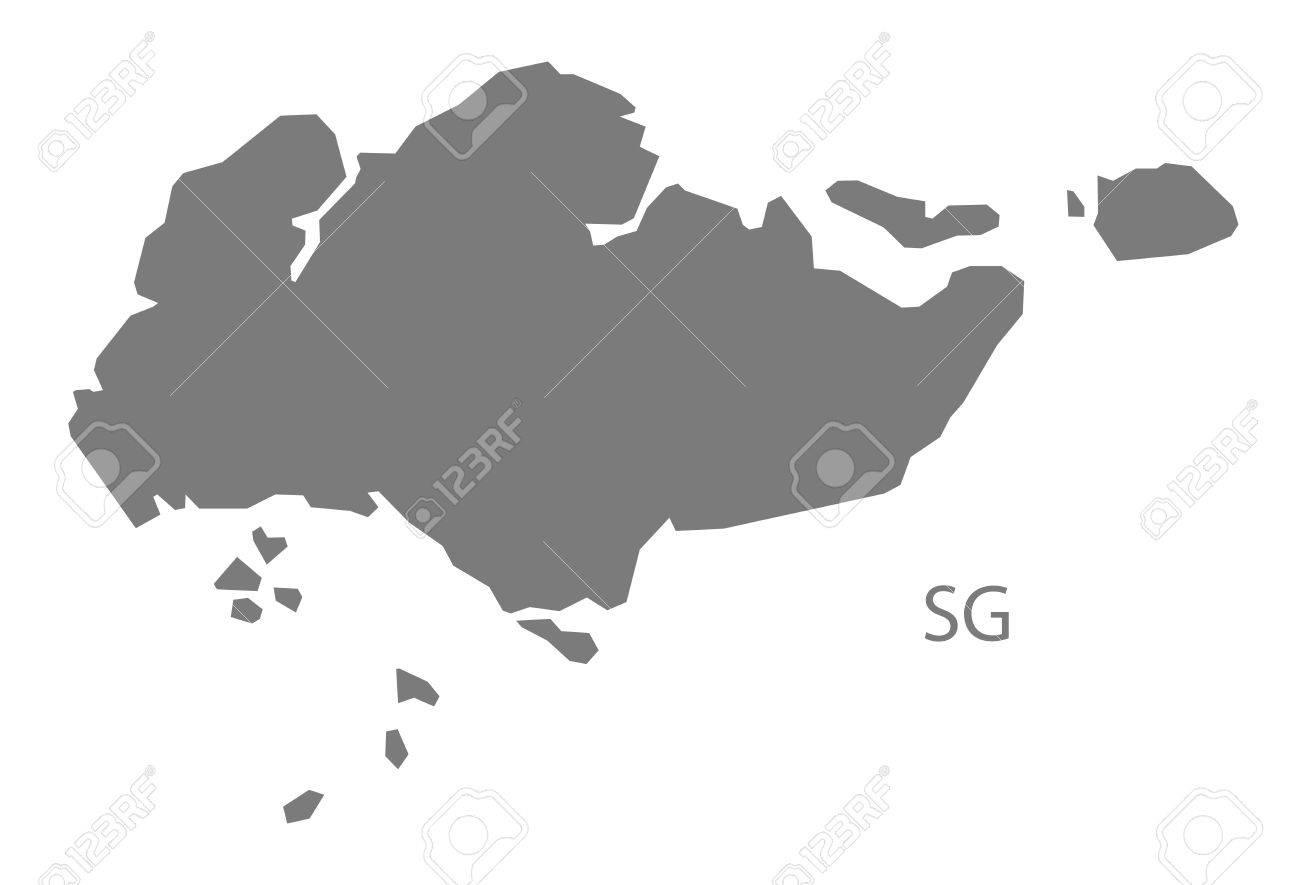 Singapore Map In Gray Royalty Free Cliparts Vectors And Stock