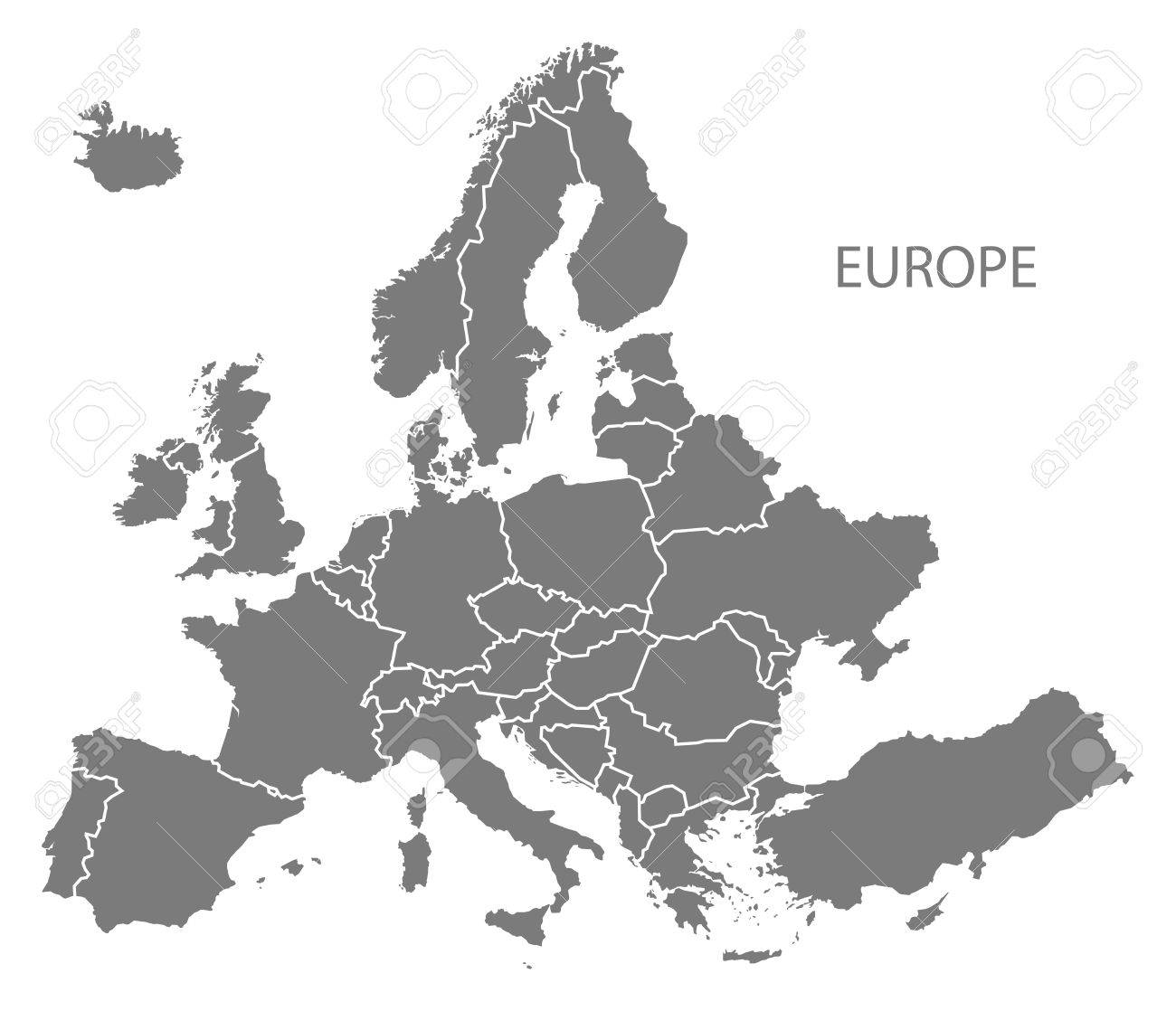 europe continent map in gray stock vector 60482789