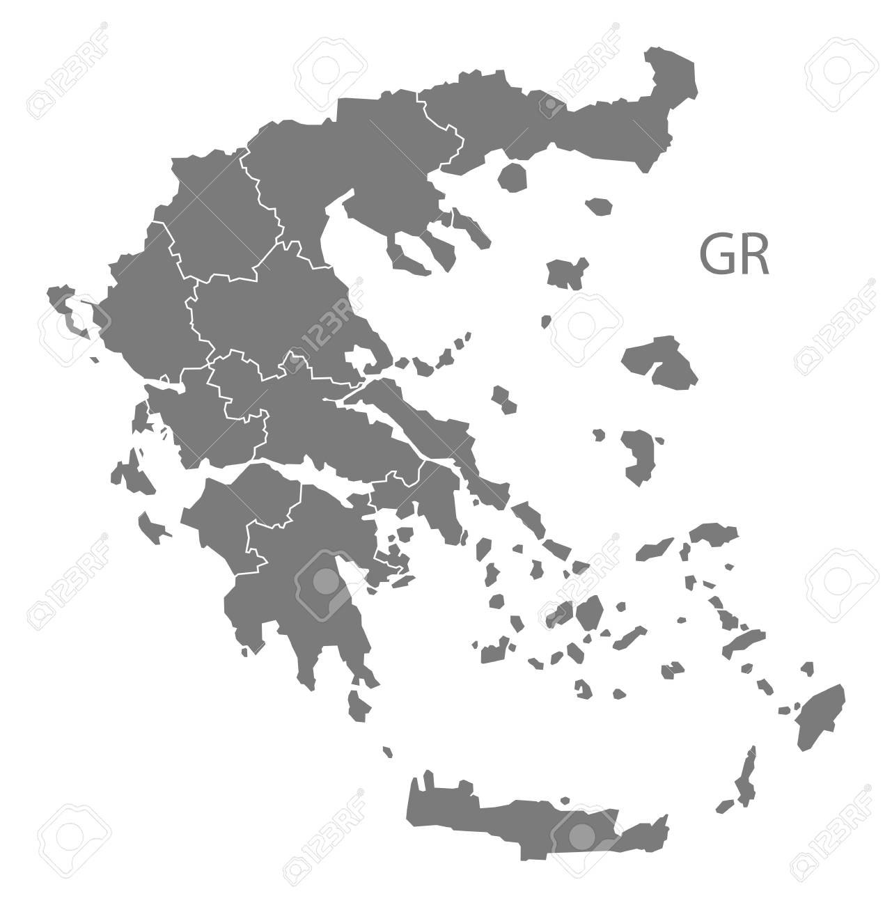 Greece map in gray