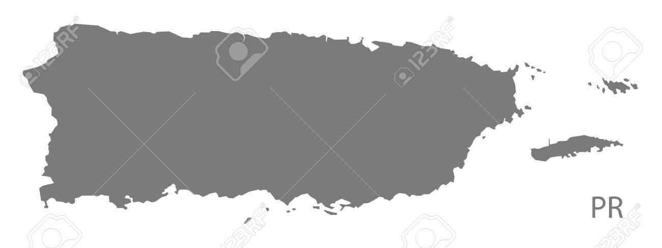 Puerto Rico map in gray - 60482885