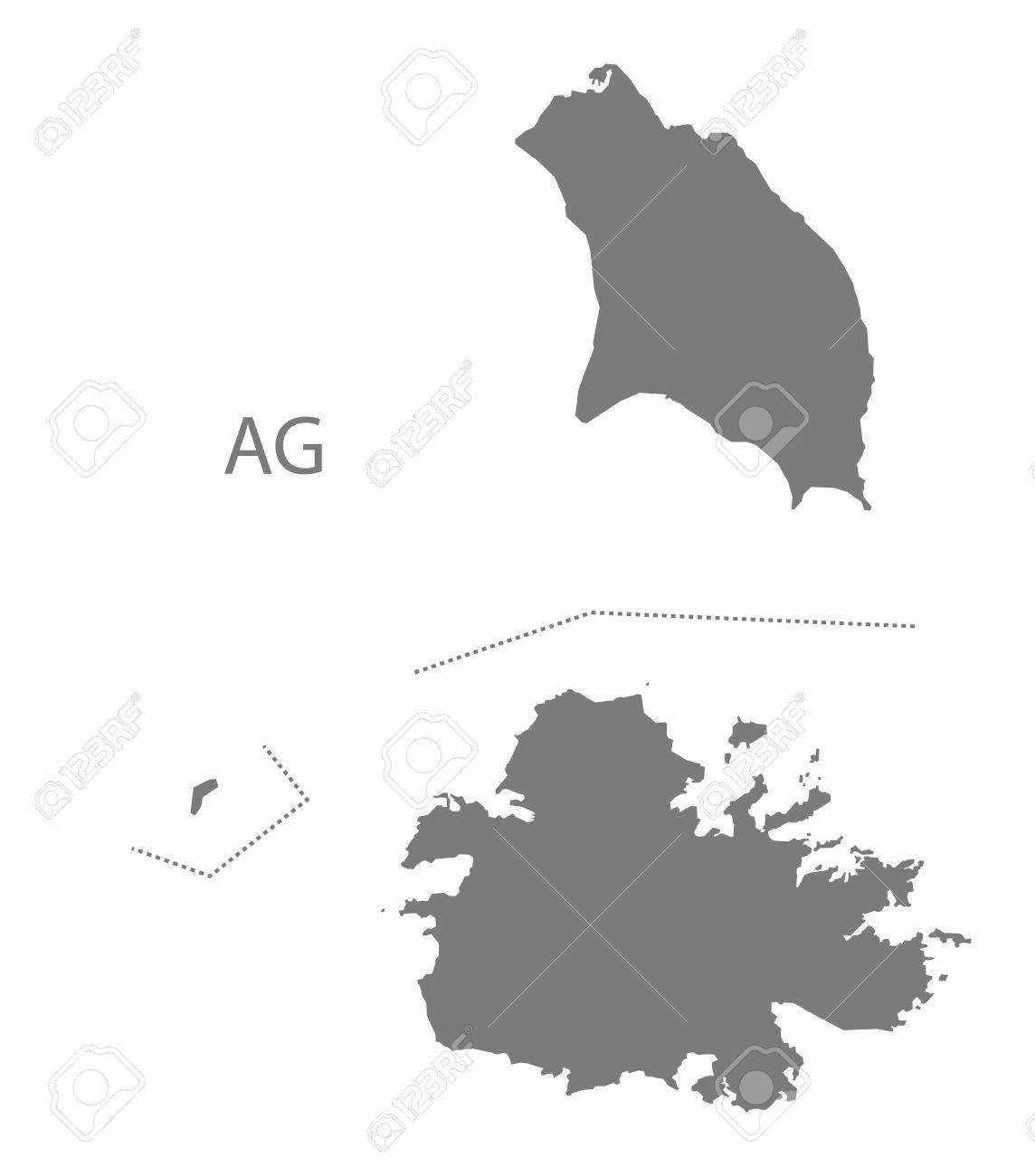 Antigua And Barbuda Map In Gray Royalty Free Cliparts Vectors And