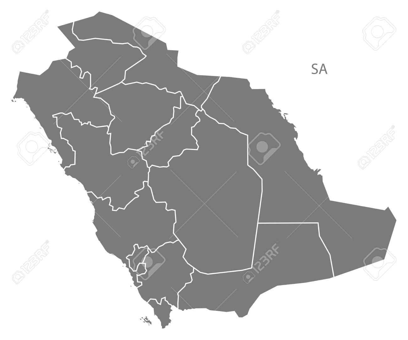 Saudi Arabia Map In Gray Royalty Free Cliparts, Vectors, And Stock ...