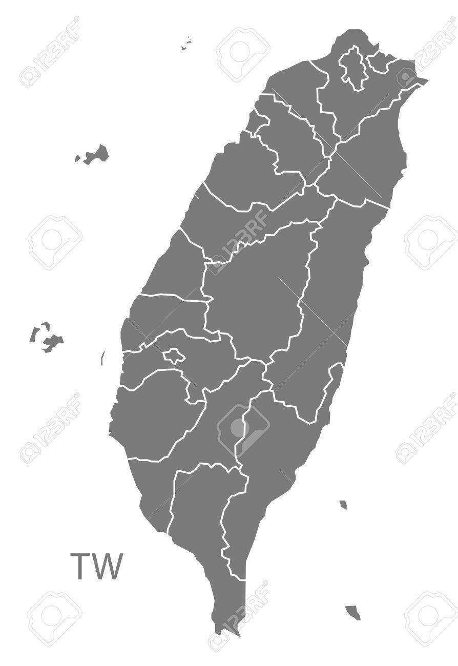 Taiwan map in gray - 60408501