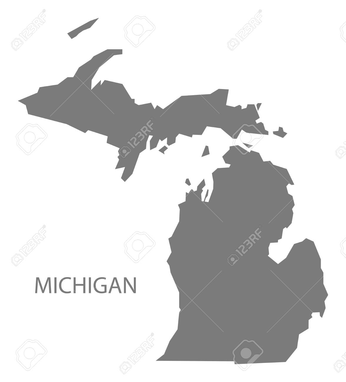 Michigan On Usa Map.Michigan Usa Map In Grey Royalty Free Cliparts Vectors And Stock