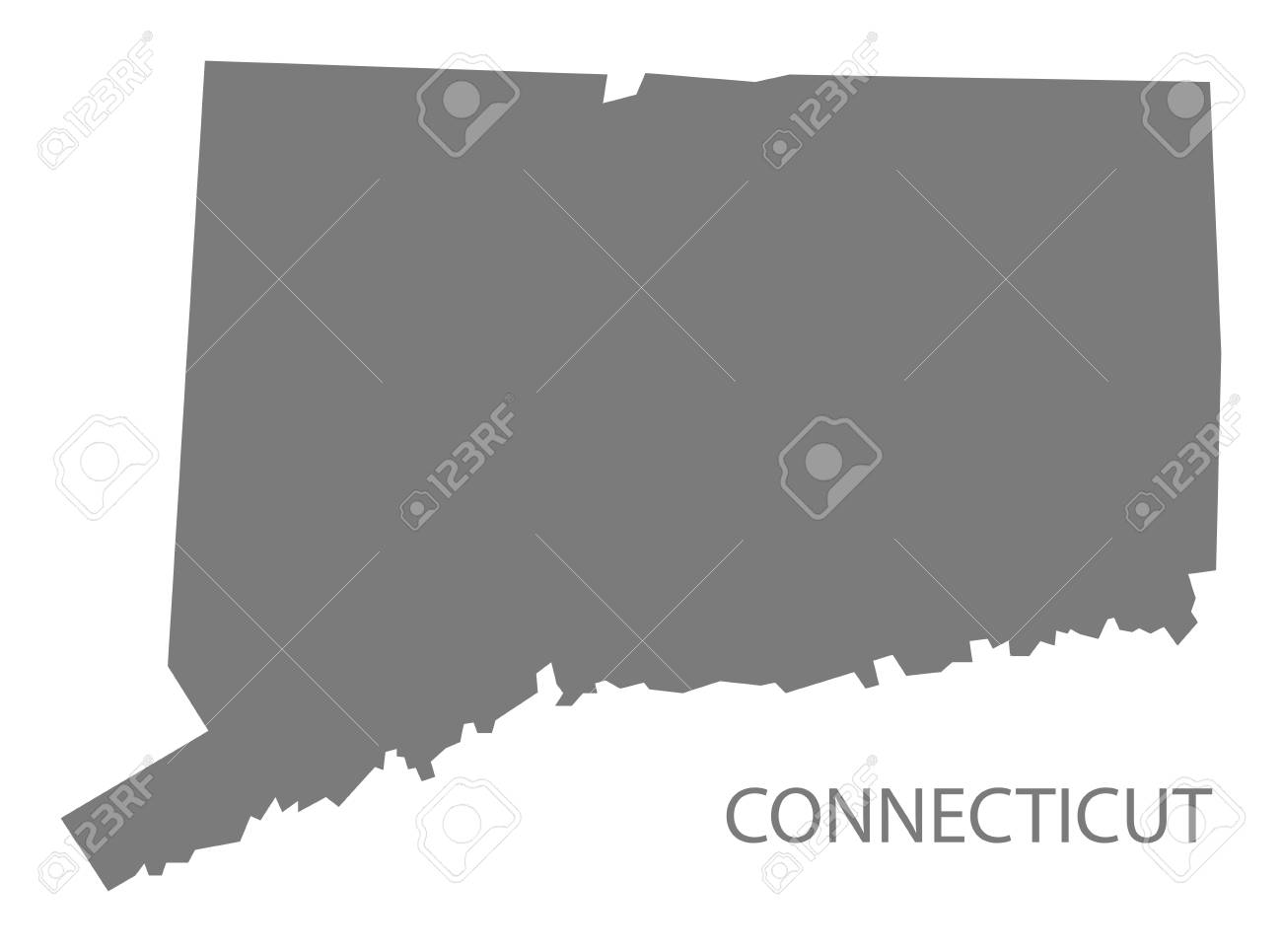 Connecticut USA Map In Grey Royalty Free Cliparts, Vectors, And ...