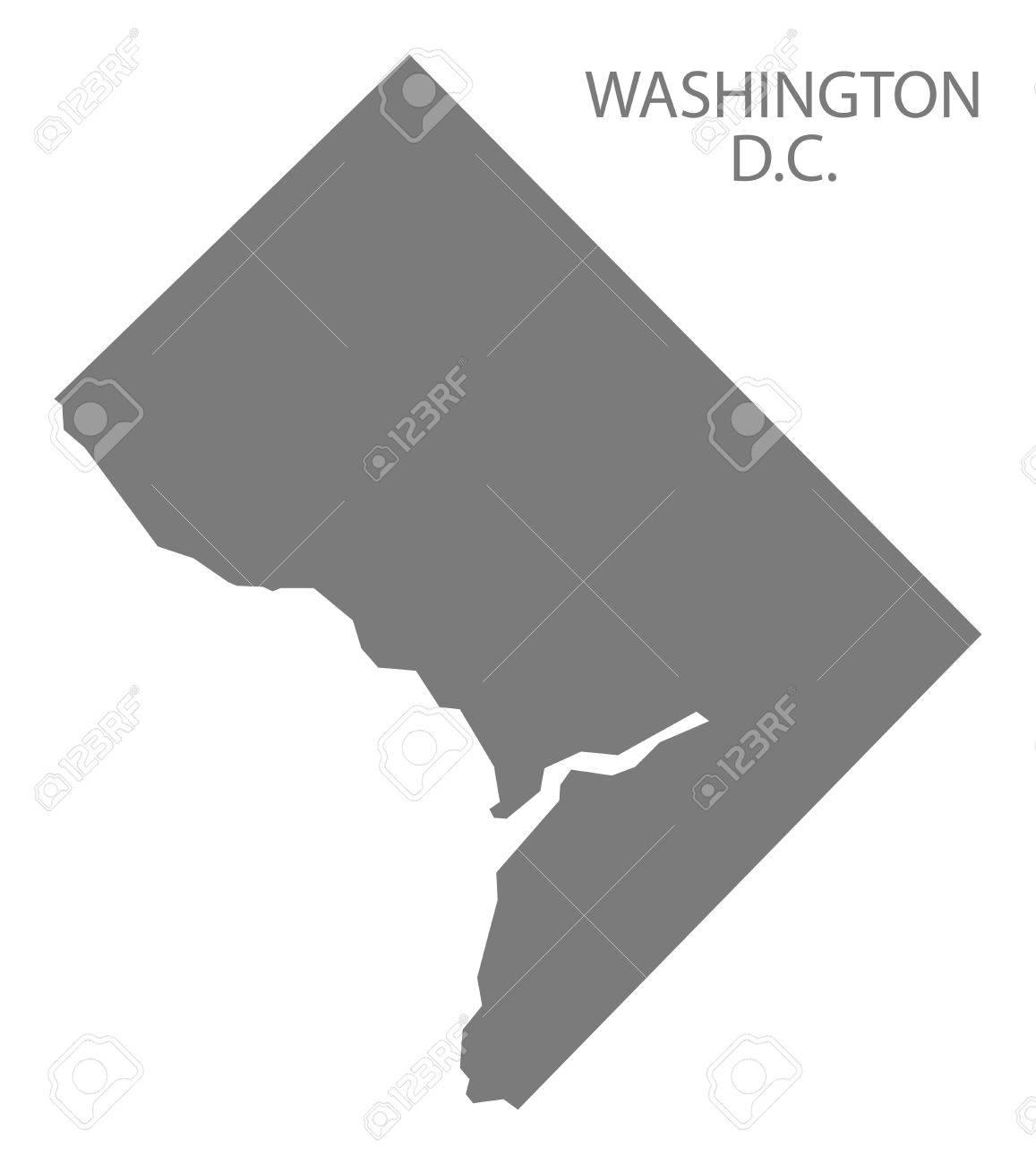 Washington DC USA Map in grey - 60709966