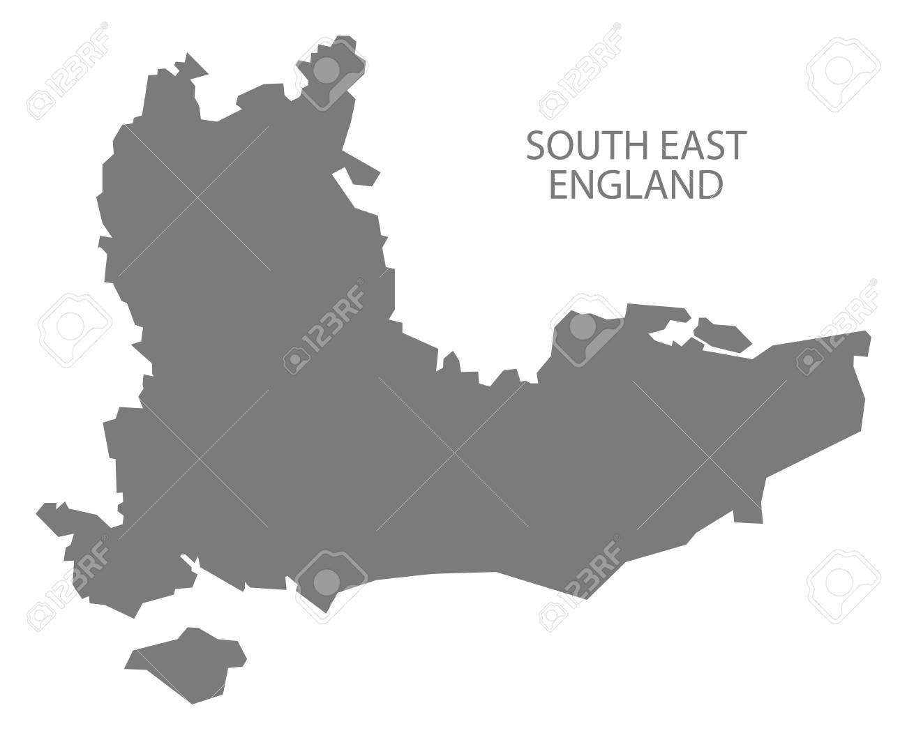 Map Of South East England Counties.Grey County Map Of England South East England Royalty Free Cliparts