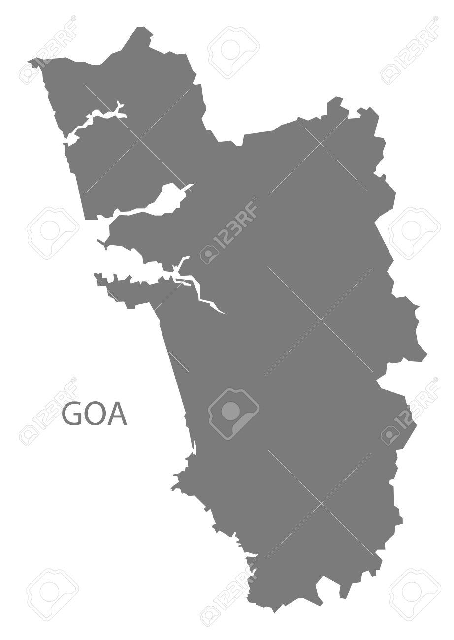 Goa India Map Gray Stock Vector   60710316