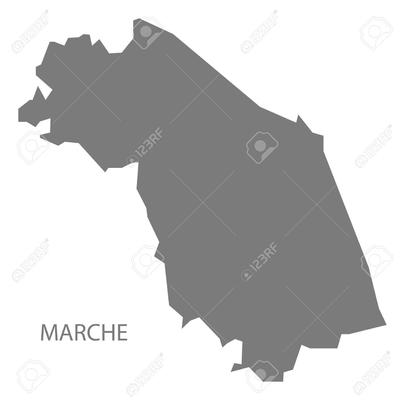 Marche Italy Map In Grey Royalty Free Cliparts Vectors And Stock