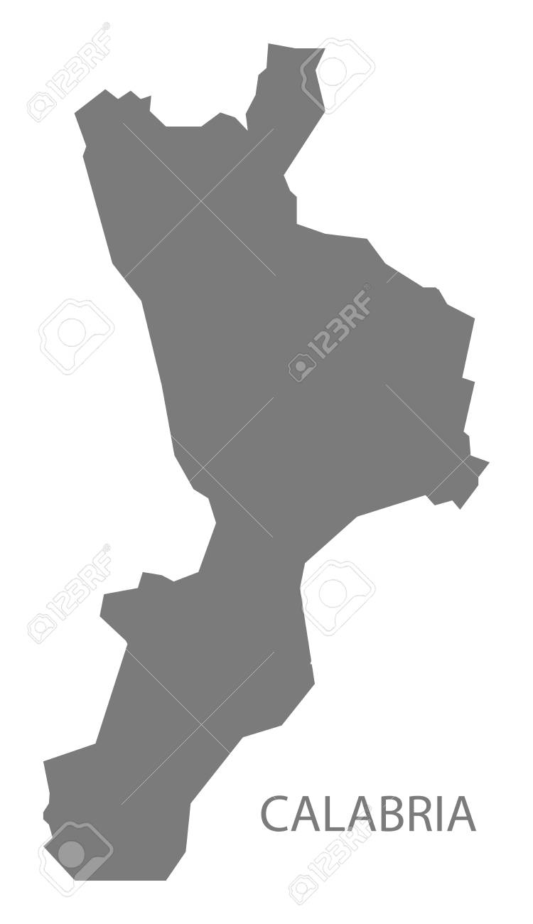 Calabria Italy Map In Grey Royalty Free Cliparts Vectors And Stock