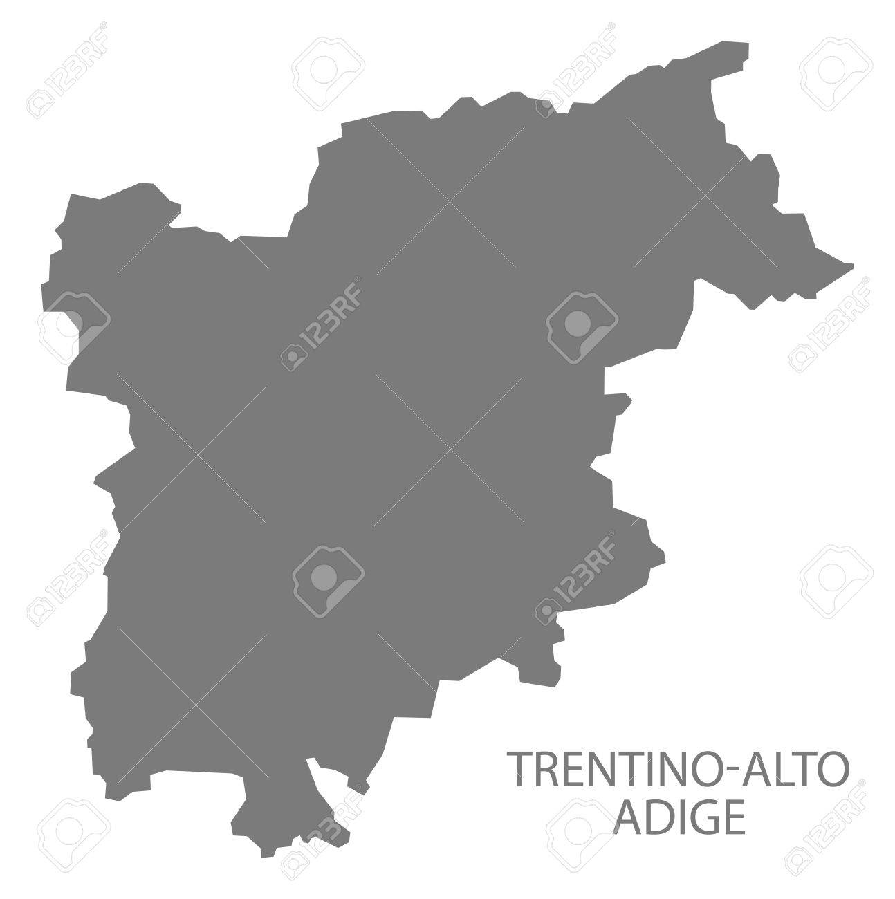 TrentinoAlto Adige Italy Map In Grey Royalty Free Cliparts Vectors