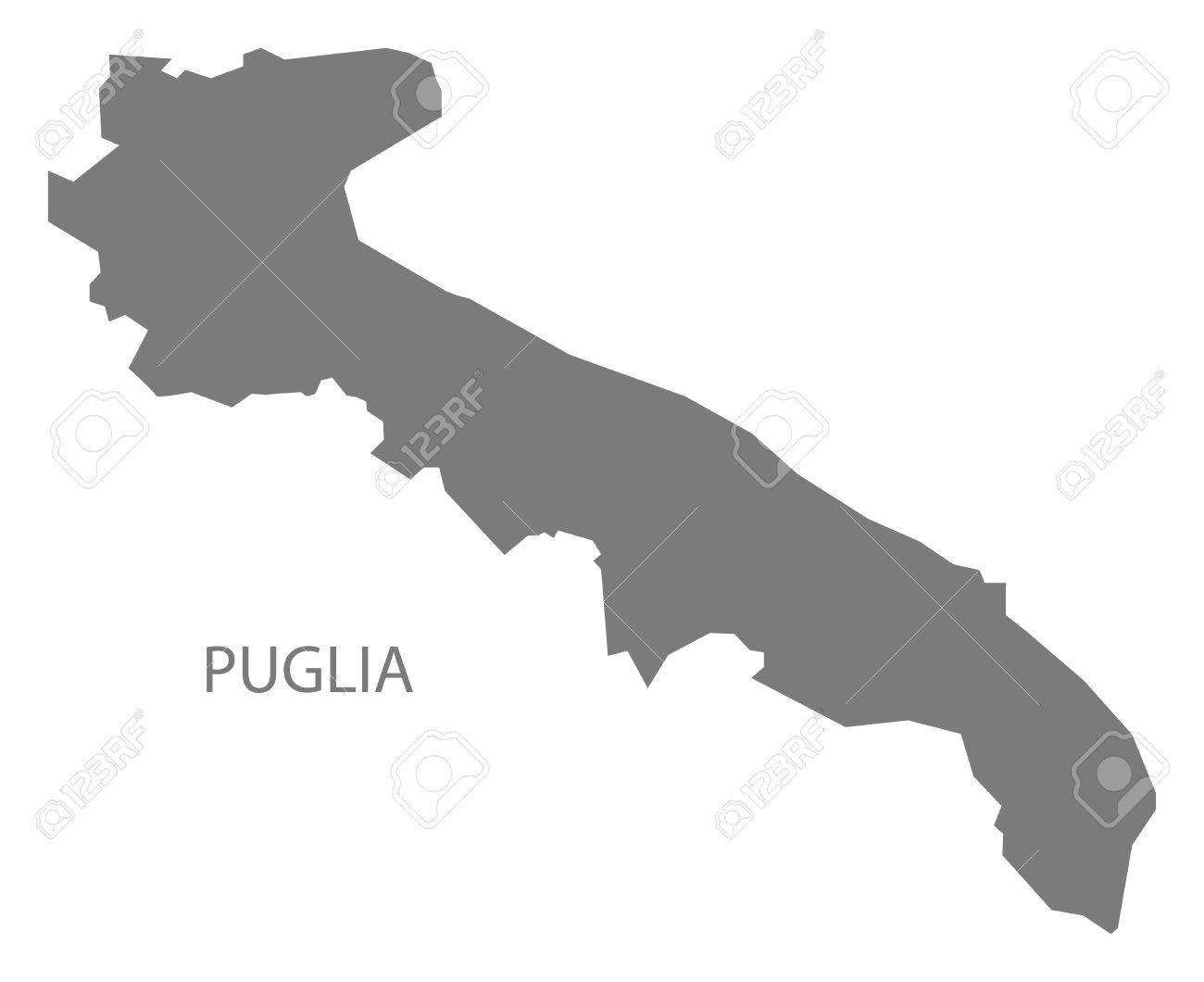 Puglia Italy Map In Grey Royalty Free Cliparts Vectors And Stock
