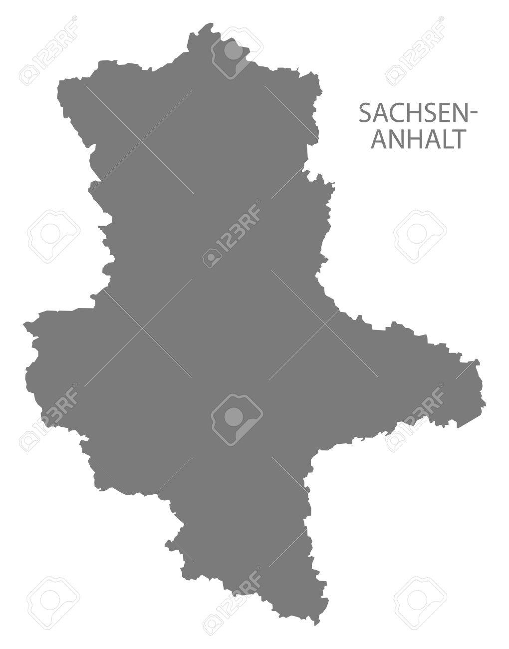 SachsenAnhalt Germany Map Grey Royalty Free Cliparts Vectors And
