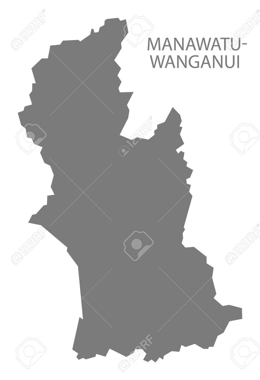 Where Is Wanganui In New Zealand Map.Manawatu Wanganui New Zealand Map Grey