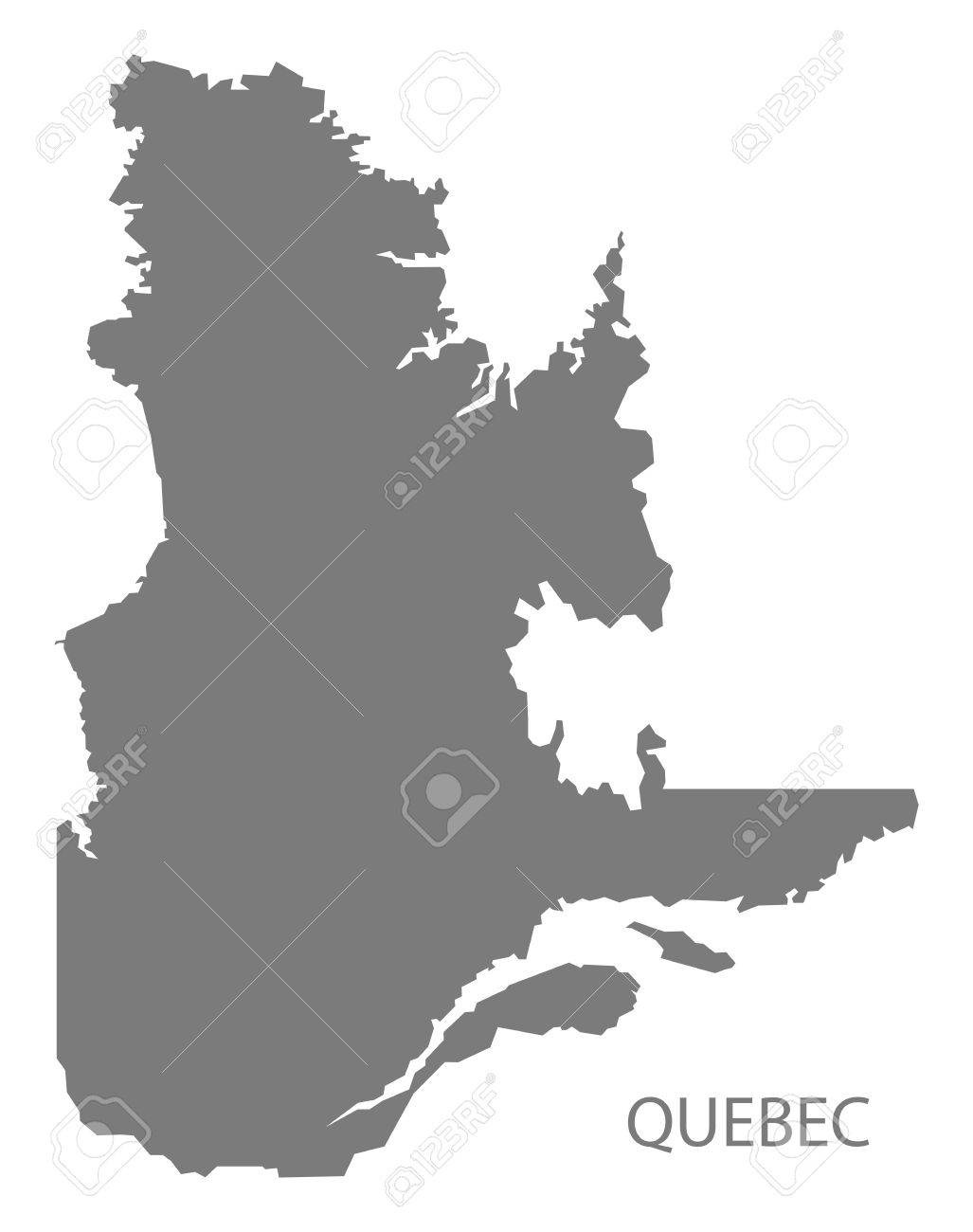 quebec canada map in grey royalty free cliparts vectors and