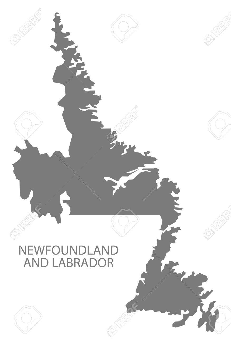 Newfoundland And Labrador Canada Map In Grey Royalty Free Cliparts