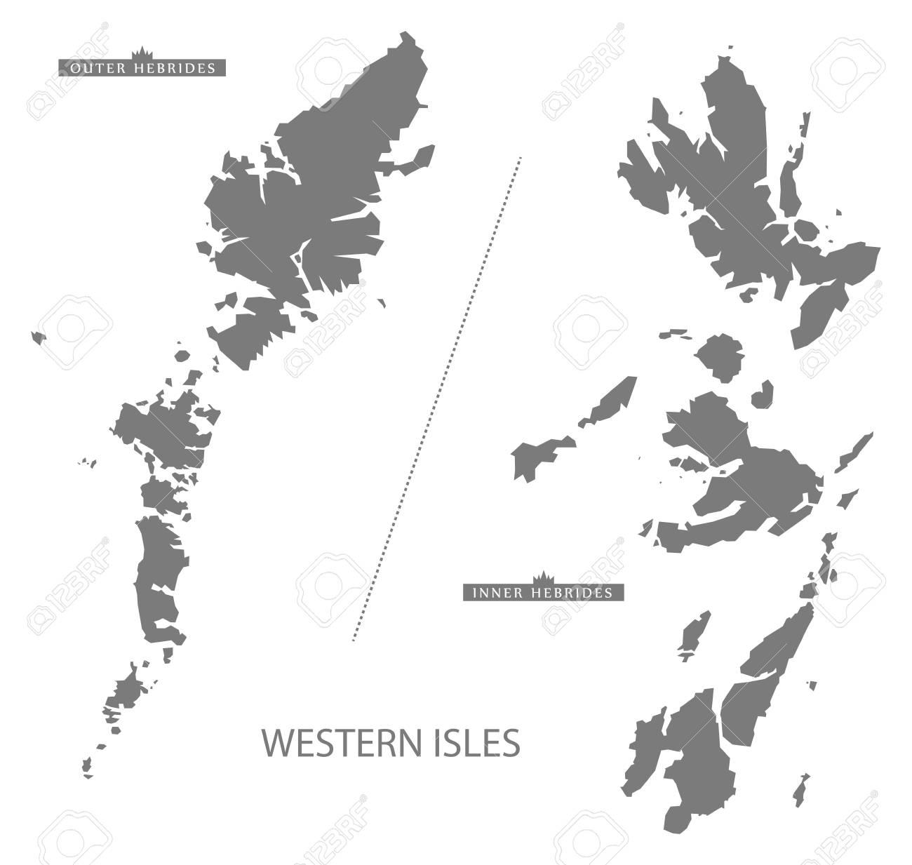 Western Isles Scotland Map in grey - 61569865