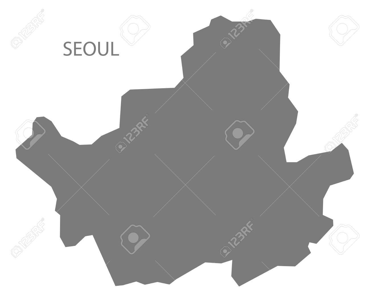 Seoul South Korea Map In Grey Royalty Free Cliparts Vectors And - South korea map vector