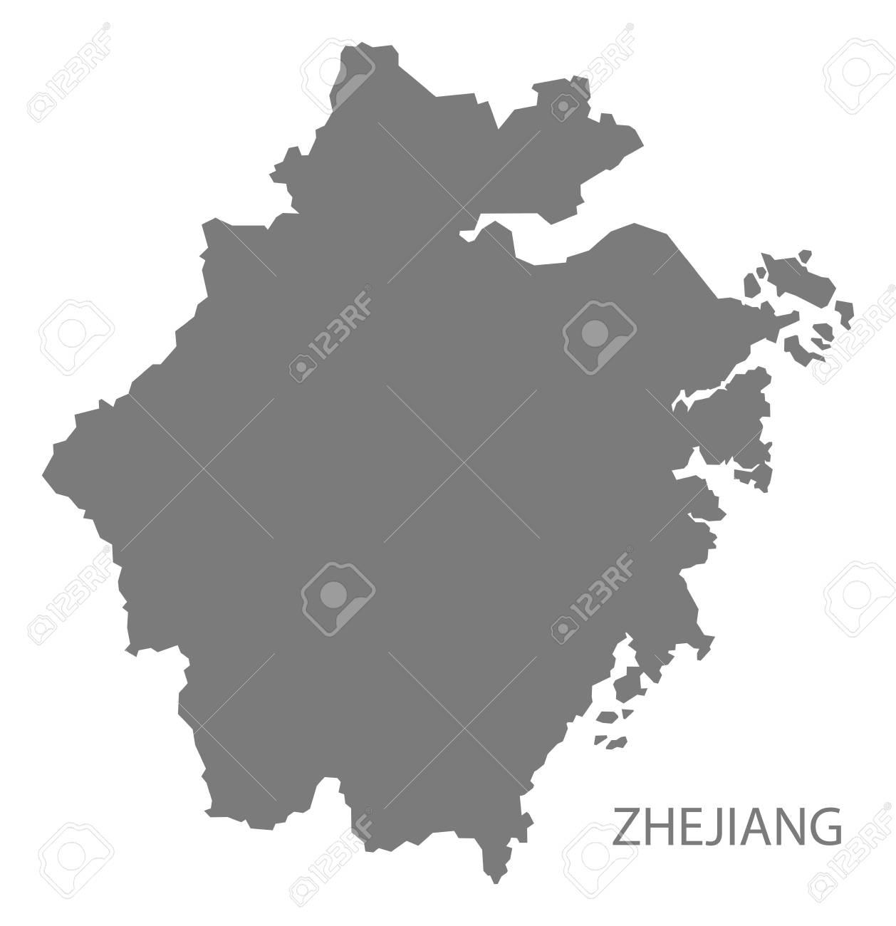 Zhejiang China Map In Grey Royalty Free Cliparts Vectors And Stock