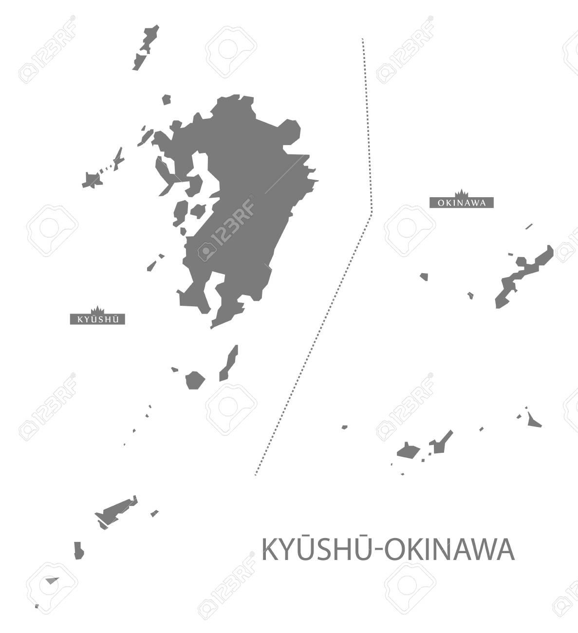 灰色で九州沖縄日本地図のイラスト素材ベクタ Image 61570125