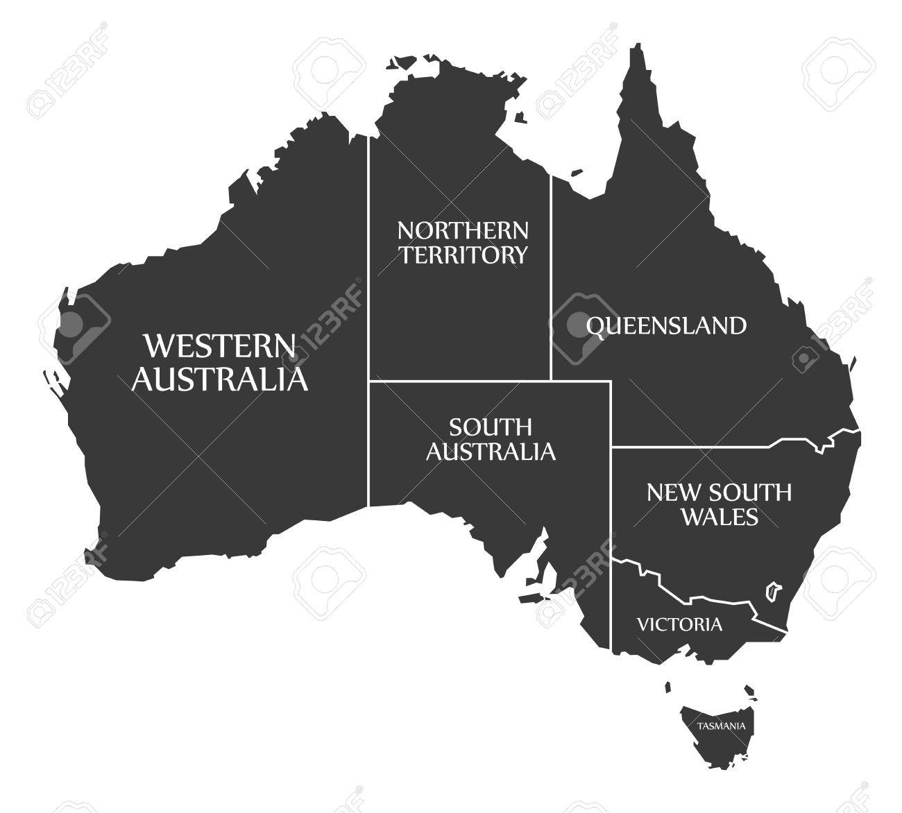 australia map with states and labels black stock vector 61396751