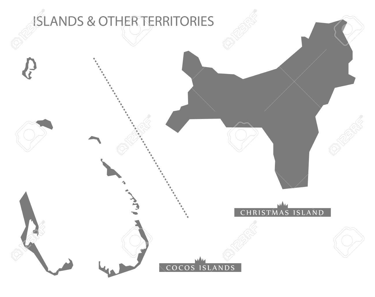 Australia Map Grey.Islands And Other Territories Australia Map Grey Royalty Free