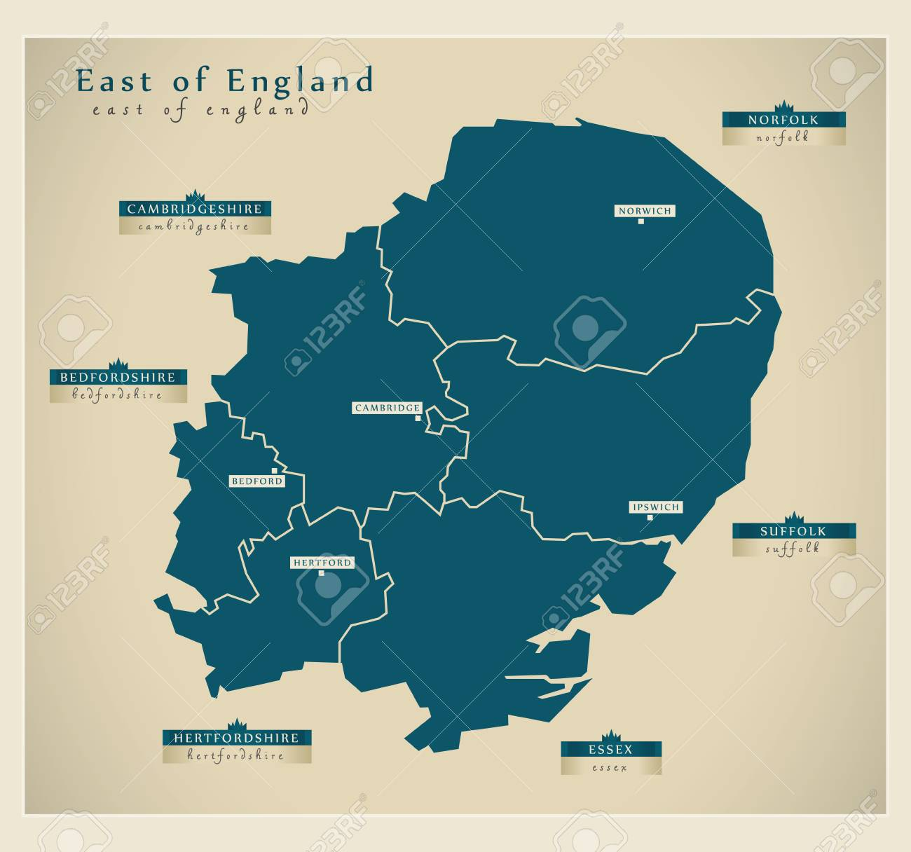Modern map east of england uk royalty free cliparts vectors and modern map east of england uk stock vector 62060456 gumiabroncs Image collections