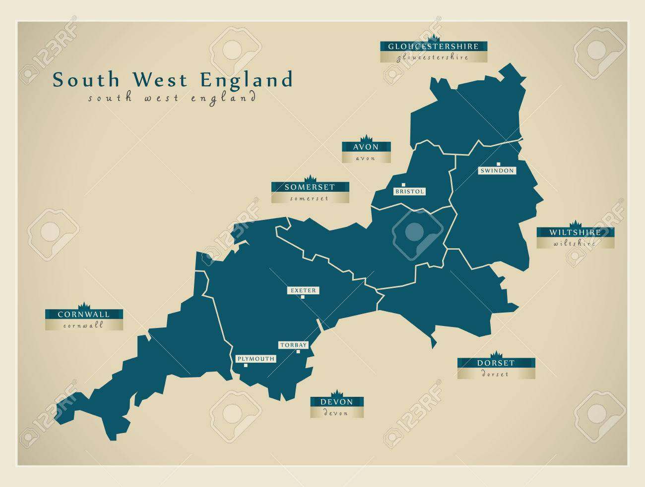Map Of Southern England Uk.Modern Map South West England Uk