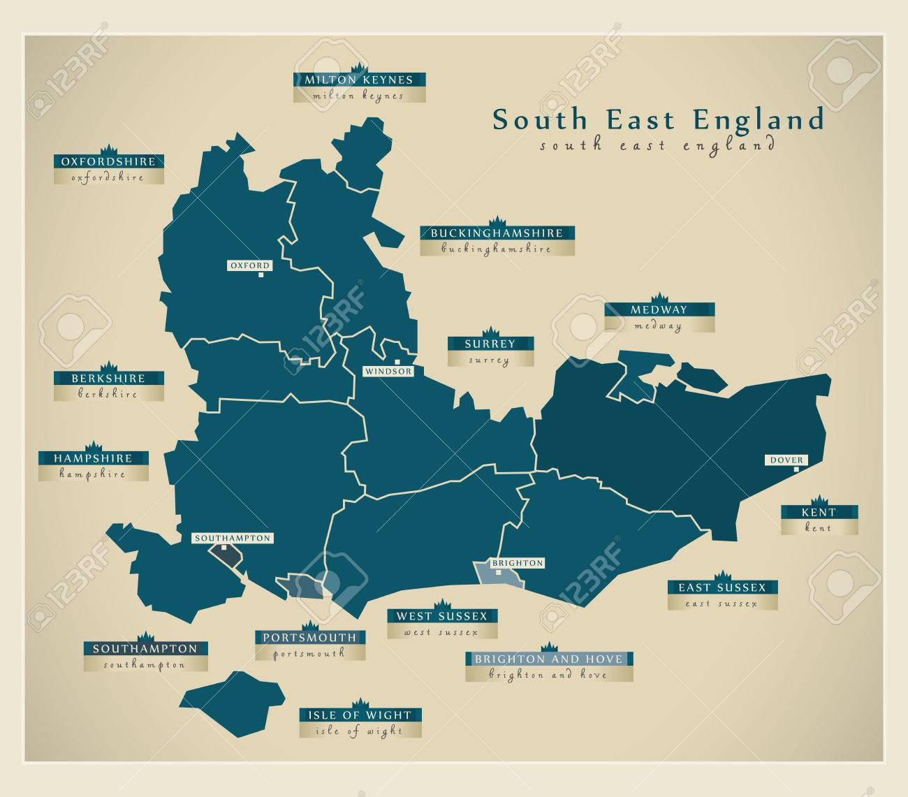 Map Of The South Of England.Modern Map South East England Uk