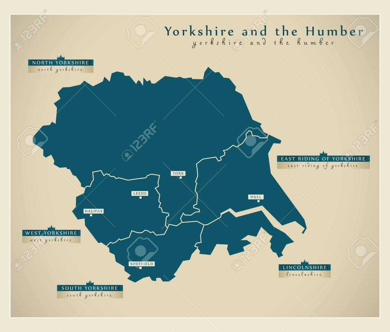 Modern Map Yorkshire And The Humber Uk Royalty Free Cliparts