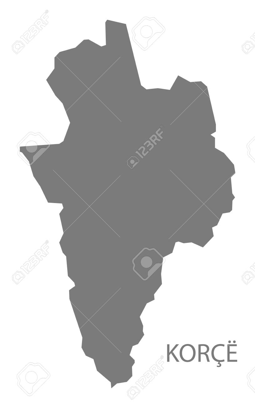 Korce Albania Map In Grey Royalty Free Cliparts Vectors And Stock