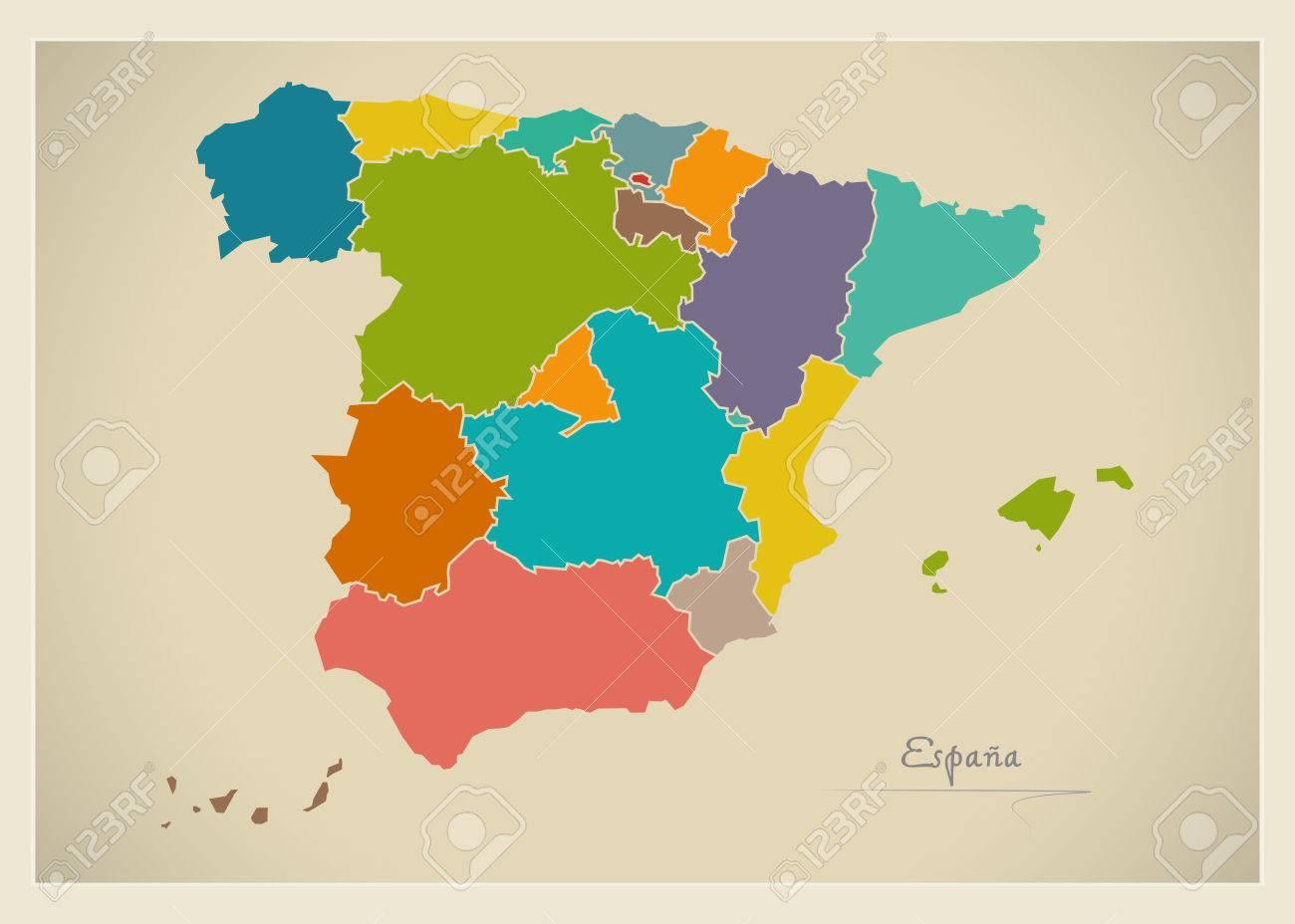 Spain map artwork color illustration - 65018865
