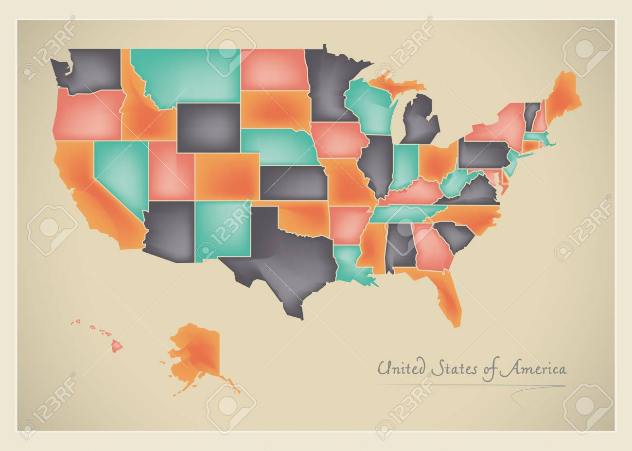 Us Map Artwork.Usa Map Artwork 3d Color Illustration Stock Photo Picture And