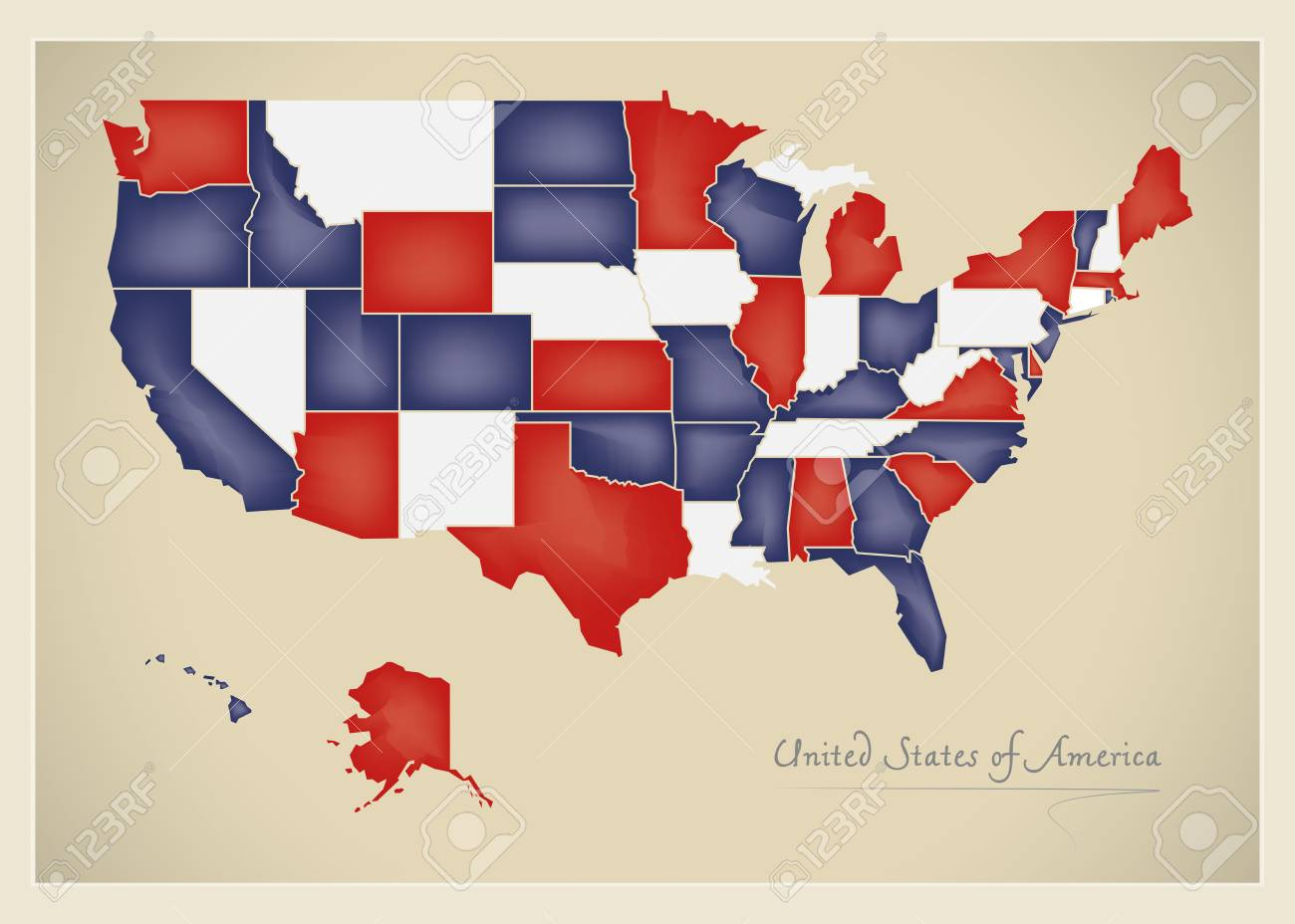 Us Map Artwork.Usa Map Artwork With National Flag Colors Illustration Stock Photo