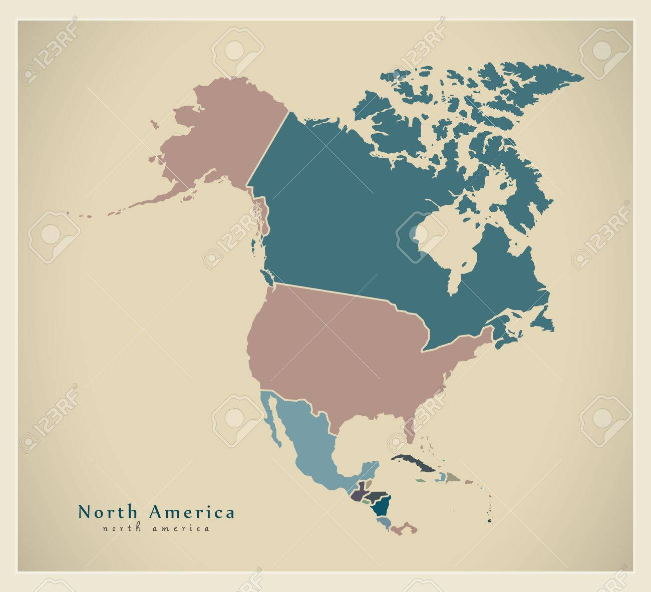 Modern Map - North America Map With Countries Colored Complete ...