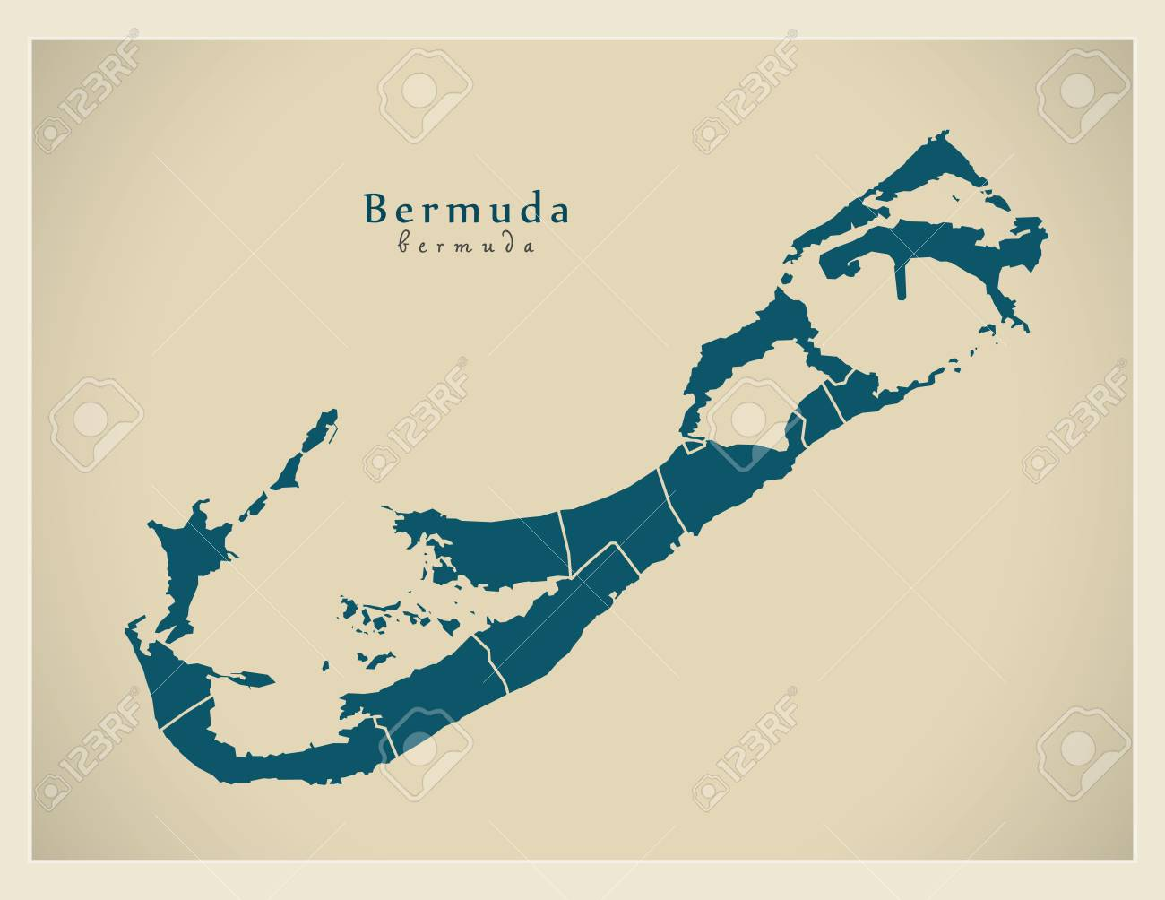 Modern Map - Bermuda with parishes BM