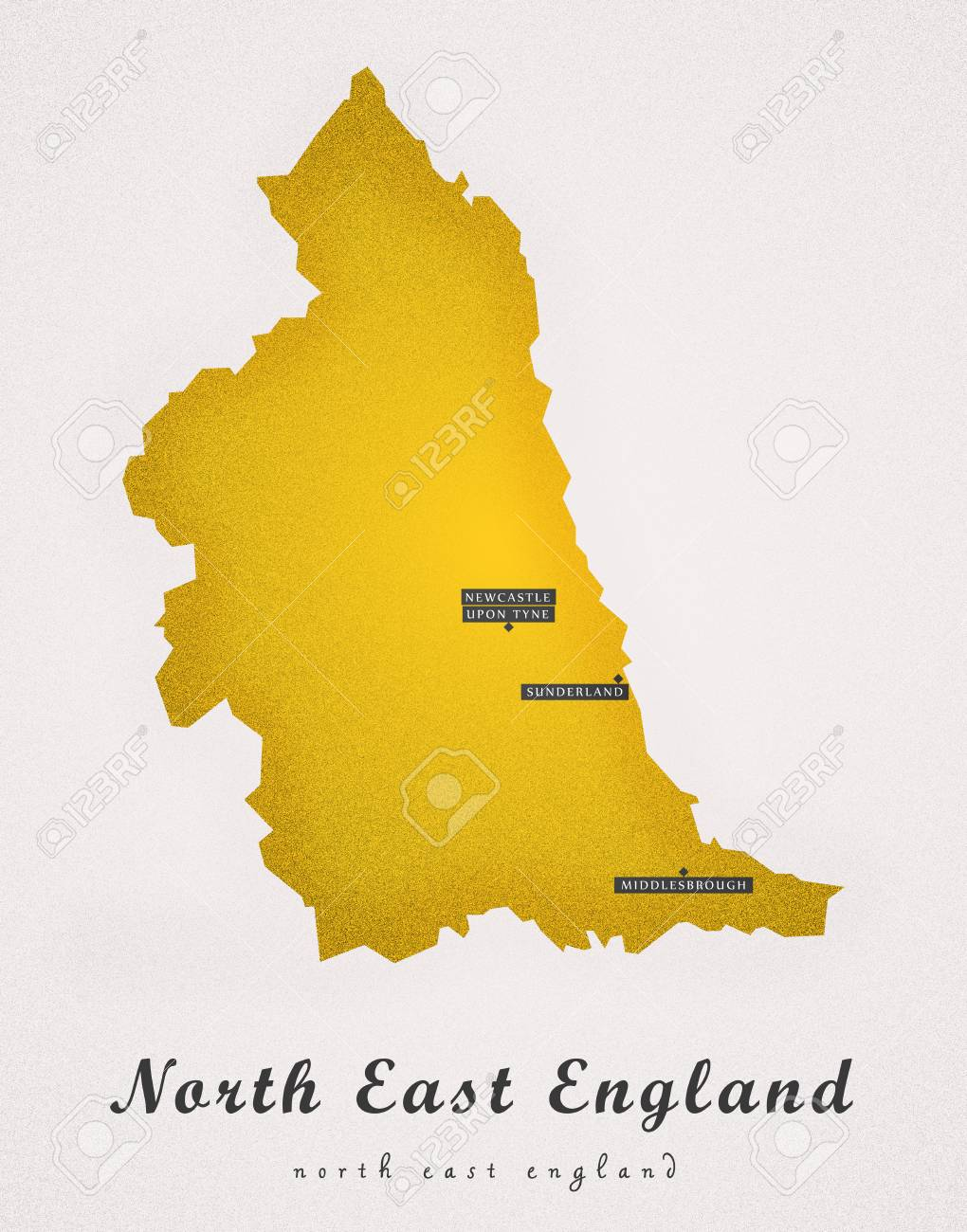 Map Of The East Of England.North East England Uk Art Map