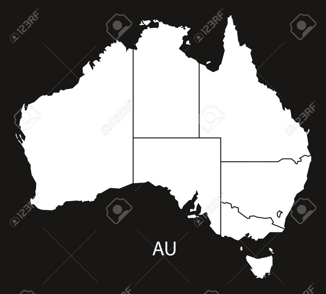 Australia Map Black And White.Australia Map With States Black White
